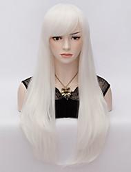 abordables -Mujer Pelucas sintéticas Muy largo Corte Recto Blanco Peluca de Halloween Peluca de carnaval Pelucas para Disfraz