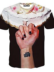 T-Shirts ( Mistura de Algodão ) MEN - Casual Redondo - Manga Curta