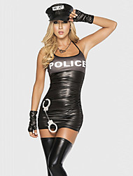cheap -Seductive Female Sexy Police Uniform Costumes Party Police Career Costumes  Halloween Costumes Black Dress  Black Bandage Gloves Hat