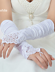 Elastic Satin Wrist Length Glove Bridal Gloves Party/ Evening Gloves Winter Gloves With Beading Pleated Sequins