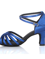"Scarpe da ballo - Disponibile ""su misura"" - Donna - Latinoamericano / Salsa - Customized Heel - Satin - Blu"