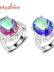 Statement Rings Silver Topaz Fashion Red Blue Jewelry Party 1pc