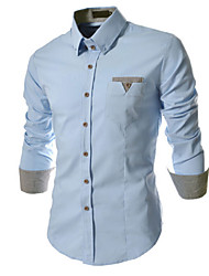 Недорогие -Муж. Офис Чистый цвет Рубашка Деловые / Классический и неустаревающий Однотонный / В клетку / Длинный рукав