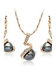 cheap -Women's Pearl / Crystal / Imitation Pearl Jewelry Set Earrings / Necklace - Gray Jewelry Set For Wedding / Party / Daily