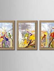 pittura a olio a mano fiori astratti tele dipinte con allungato incorniciato - set di 3