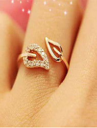 cheap -Women's Cuff Ring / Adjustable Ring - Cubic Zirconia, Rhinestone, Gold Plated Leaf Simple, Basic, Fashion Adjustable Gold / Silver For Daily Wear / Date / Alloy