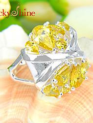Statement Rings Silver Rhinestone Fashion Yellow Pink Jewelry Party 1pc
