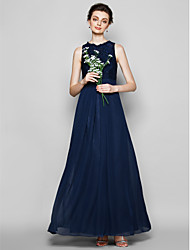 Sheath / Column Jewel Neck Floor Length Chiffon Lace Bridesmaid Dress with Lace by LAN TING BRIDE®