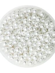 beadia 100g (environ 1000 pièces) abs perles de nacre blanches 6mm ronde en plastique de couleur perles d'espacement en vrac pour la