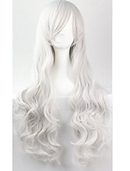 Cos Anime Bright Colored Wig Long Curly Silver Hair Wig 80 cm