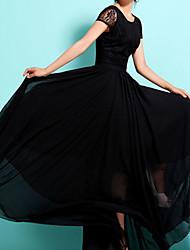 baratos -Mulheres Tamanhos Grandes Chifon balanço Vestido Sólido Longo