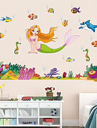 economico -adesivi murali in stile muro decalcomanie adesivi murali sogno sirena cartone animato in pvc