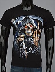MEN - T-shirt - Informale/Feste/Lavoro Rotondo - Maniche corte Cotone/Cotone organicp/Poliestere