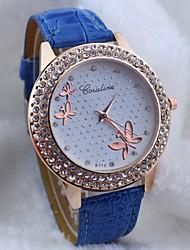 cheap -Women's Quartz Wrist Watch Hot Sale PU Band Butterfly Fashion Black White Blue Red Brown Pink Purple