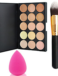 cheap Powder Brushes-Pro Party 15 Colors Contour Face Cream Makeup Concealer Palette + Powder Brush+Power Puff