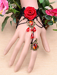 economico -braccialetto gemma corona fiore vintage rosso con anello classico stile femminile