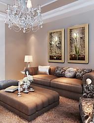 economico -pittura a olio moderna a mano fiori astratti dipinti lino naturale con Stretched incorniciato - set di 2