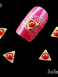 cheap -035 10PCS 5*5mm 3d nail art supplies Golden Red Pearl Alloy Metal Triangle Shape DIY rhinestone alloy nails decoration