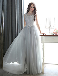 Sheath / Column Illusion Neckline Floor Length Tulle Formal Evening Black Tie Gala Dress with Beading Appliques by CHQY