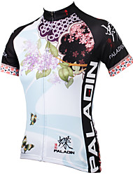 cheap -ILPALADINO Women's Short Sleeves Cycling Jersey - Blue Floral / Botanical Bike Jersey, Quick Dry, Ultraviolet Resistant, Breathable