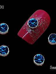 cheap -001 10pcs/lot Beauty Nail Alloy Silver Metal 3D Blue Rhinestone Nail Art Slice DIY Cellphone Case Dress Decoration