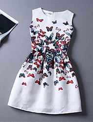 preiswerte -Vintage/Sexy/Bedruckt Rund - Ärmellos - FRAUEN - Kleider ( Polyester )
