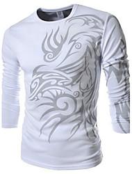 economico -T-shirt Uomo Casual / Attività sportive Con stampe Misto cotone Manica lunga-Nero / Bianco