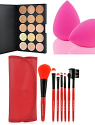 cheap -Concealer/Contour Dry Cream Concealer 15 Colors Facial Face Contour Concealer Cream Palette+7PCS Makeup Brushes Set Kit+Powder Puff