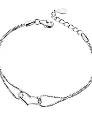 Women's Chain Bracelet Love Personalized Hypoallergenic Costume Jewelry Silver Plated Heart Jewelry Jewelry For Wedding Party Anniversary