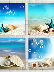 cheap -Prints Poster Beach Canvas Seascapes Landscape  Wall Pictures Print On Canvas  4pcs/set (Without Frame)