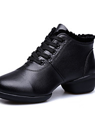 Women's Dance Shoes Sneakers Breathable Real Leather with Cotton Low Heel Black/Red