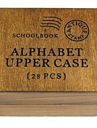 cheap -26 English Alphabet + ! + ? Pattern Wood Seal Stamp
