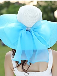 baratos -Mulheres Casual Linho Palha Verão Chapéu de sol,Sólido Azul Marinho Vermelho Rosa claro Azul Claro Melancia