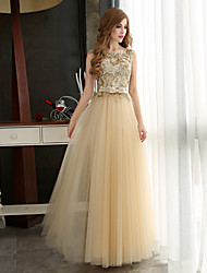 A-Line Bateau Neck Floor Length Tulle Formal Evening Dress with Beading Appliques Sash / Ribbon by CHQY