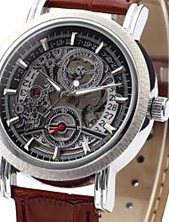 WINNER Herren Armbanduhr Mechanische Uhr Automatikaufzug Kalender PU Band Luxuriös Schwarz Braun Schwarz Braun