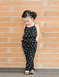 Girls' Print Sets Summer Sleeveless Overall & Jumpsuit Floral Black