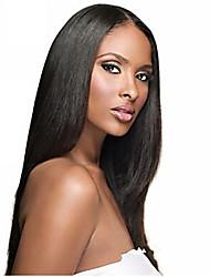 """Недорогие -10 """"-26"""" 100% человеческие волосы прямые волосы полные парики шнурка прямые волосы парики шнурка"""
