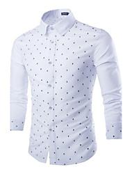 Masculino Camisa Casual / Escritório / Formal / Esporte / Tamanhos Grandes Cor Solida Manga Comprida Algodão / Linho / PoliésterAzul /