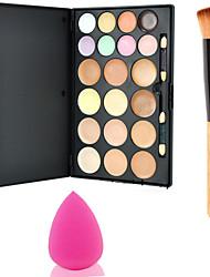 15colors kontur ansigt pulver spejl makeup palette + 1stk pulver børste + svamp pust