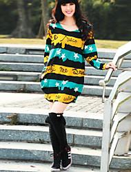 billige -Dame Chic & Moderne Løstsiddende Kjole - Multi Farve, Krøllede Folder Trykt mønster Over knæet