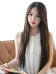 cheap -Synthetic Wig Straight Middle Part Brown Women's Capless Carnival Wig Halloween Wig Long Synthetic Hair