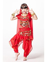 cheap -Belly Dance Outfits Performance Chiffon Sequined Beading Sequin Gold Coin Coin Cascading Ruffle Ruffles Short Sleeve Natural Top Pants