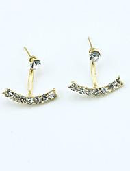 Brincos Curtos Cristal Moda Europeu Strass Chapeado Dourado 18K ouro imitação de diamante Áustria Cristal Dourado Prata Jóias Para 2pçs