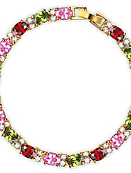 cheap -Chain Bracelet Bracelet Vintage Cute Party Work Casual Link/Chain Fashion Colorful Cubic Zirconia Gold Plated Jewelry Special Occasion