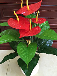 cheap -Set of 1 Noble 18 Head Anthurium Five Red Flowers Cloth Flowers (1PCS)