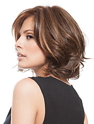 Women Synthetic Wig Capless Short Wavy Brown Highlighted/Balayage Hair Side Part Bob Haircut Layered Haircut With Bangs Natural Wigs