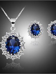 cheap -Jewelry Set Synthetic Sapphire Luxury Cute Party Party Birthday Engagement Gift Brass Gemstone & Crystal Synthetic Gemstones Cubic