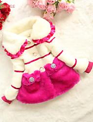 preiswerte -Mädchen Jacke & Mantel Gestreift Kunst-Pelz Baumwolle Polyester Winter Langarm Streifen Gerüscht Schwarz Fuchsia Rot