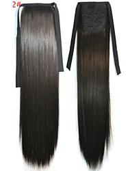 abordables -Corte Recto Sintético Pedazo de cabello La extensión del pelo 18 pulgadas Marrón Oscuro