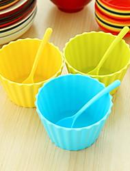 frugt is salat dessert skåle med matchende skeer (tilfældig farve)